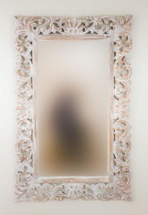 Espejo de pared decorativo Beladona Blanco (envejecido) de 140cm.