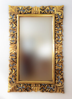 Espejo de pared decorativo Beladona Oro (envejecido) de 140x90cm. Rococó