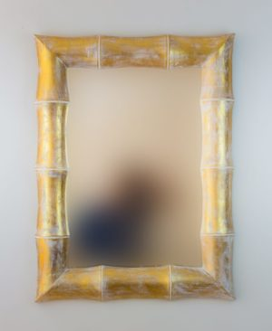Espejo de pared decorativo Bamboo Pan de oro de 80cm.