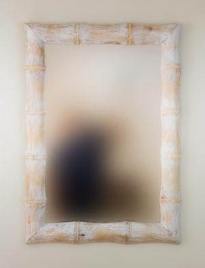 Espejo de pared decorativo Bamboo Blanco (envejecido) de 100cm.
