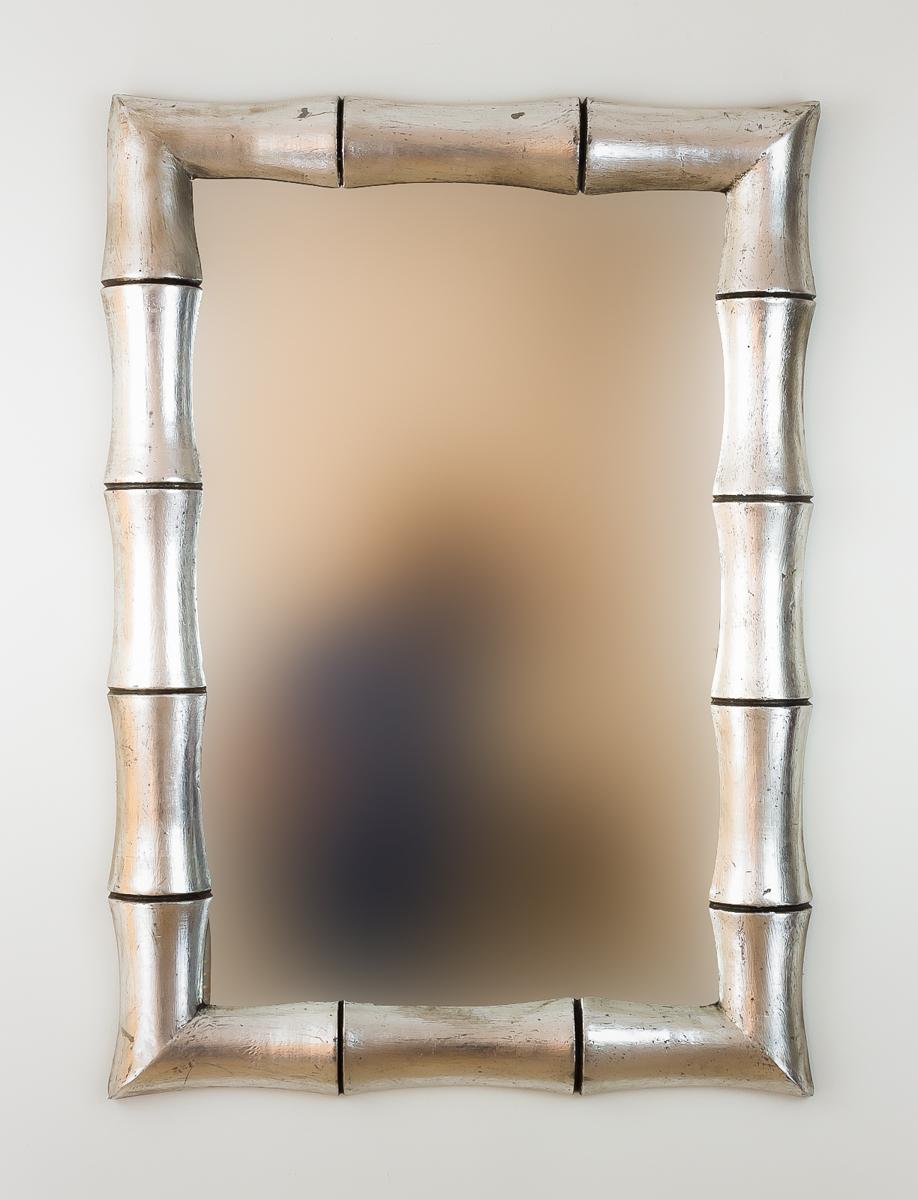 Espejo de pared decorativo Bamboo Plata (envejecida) de 100cm.