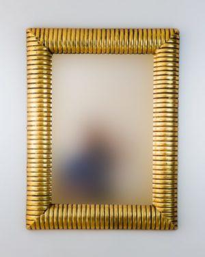 Espejo Bambu Espiral Oro (envejecido)