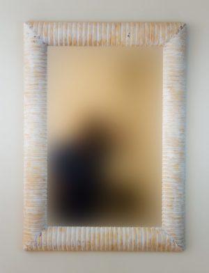 Espejo Bambu Espiral Blanco (envejecido)
