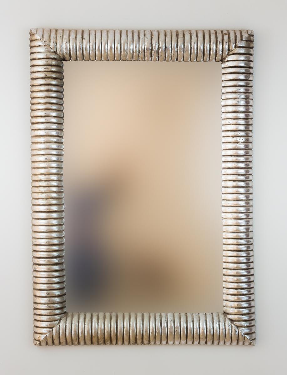 Espejo decorativo de pared en madera bambu espiral plata for Espejo madera envejecida