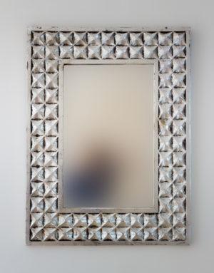 espejo pared decorativo de madera batik ceblong de 60x80cm en plata envejecida - Espejos Plateados