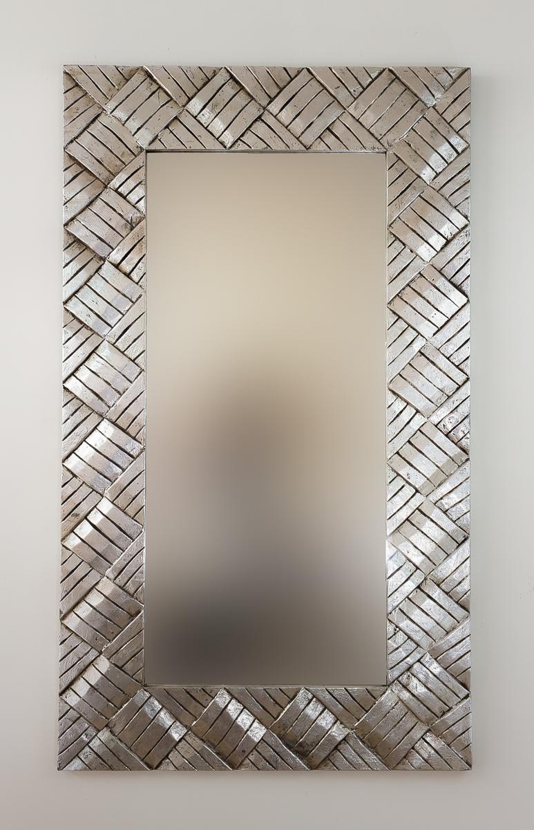 Espejo decorativo pared en madera tikar lebar plata for Espejo madera envejecida