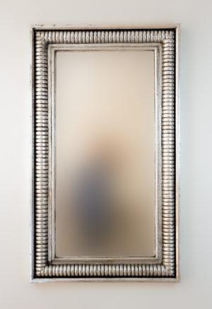 Espejo de pared decorativo Bambu Aget Plata (envejecida) de 120cm.