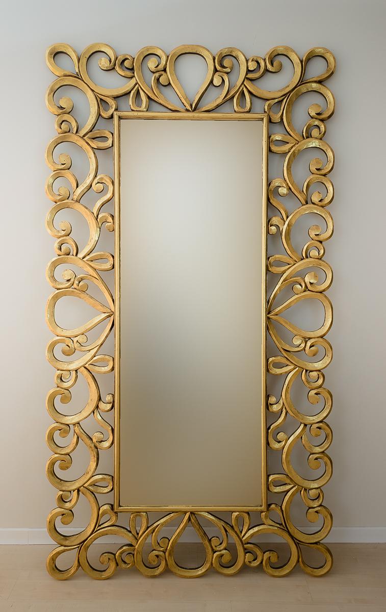 Espejo de pared en madera almora oro envejecido mirococ for Espejo decorativo pared