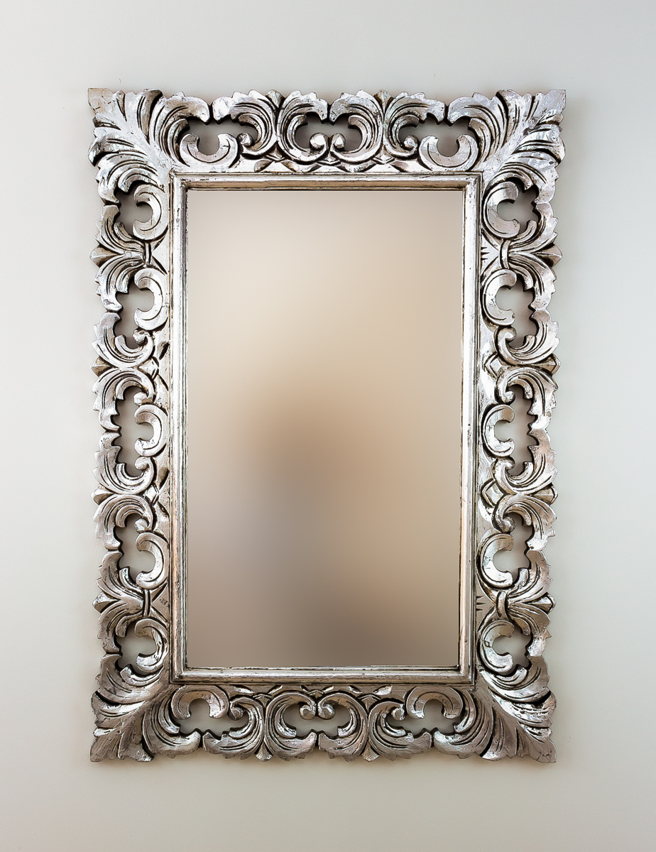 Espejo decorativo de pared colonial classic plata for Espejo madera envejecida