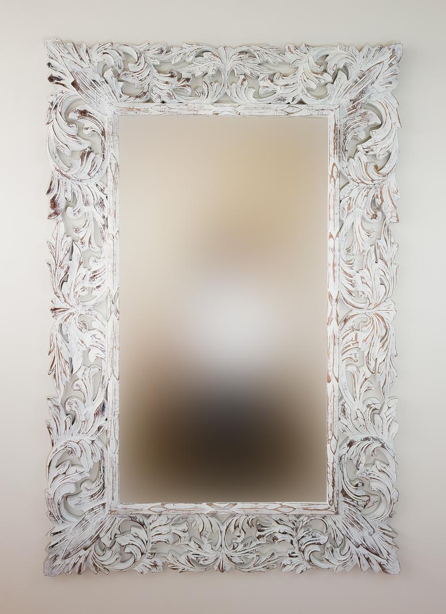 Espejo decorativo de pared en madera renaisance blanco for Espejo blanco envejecido