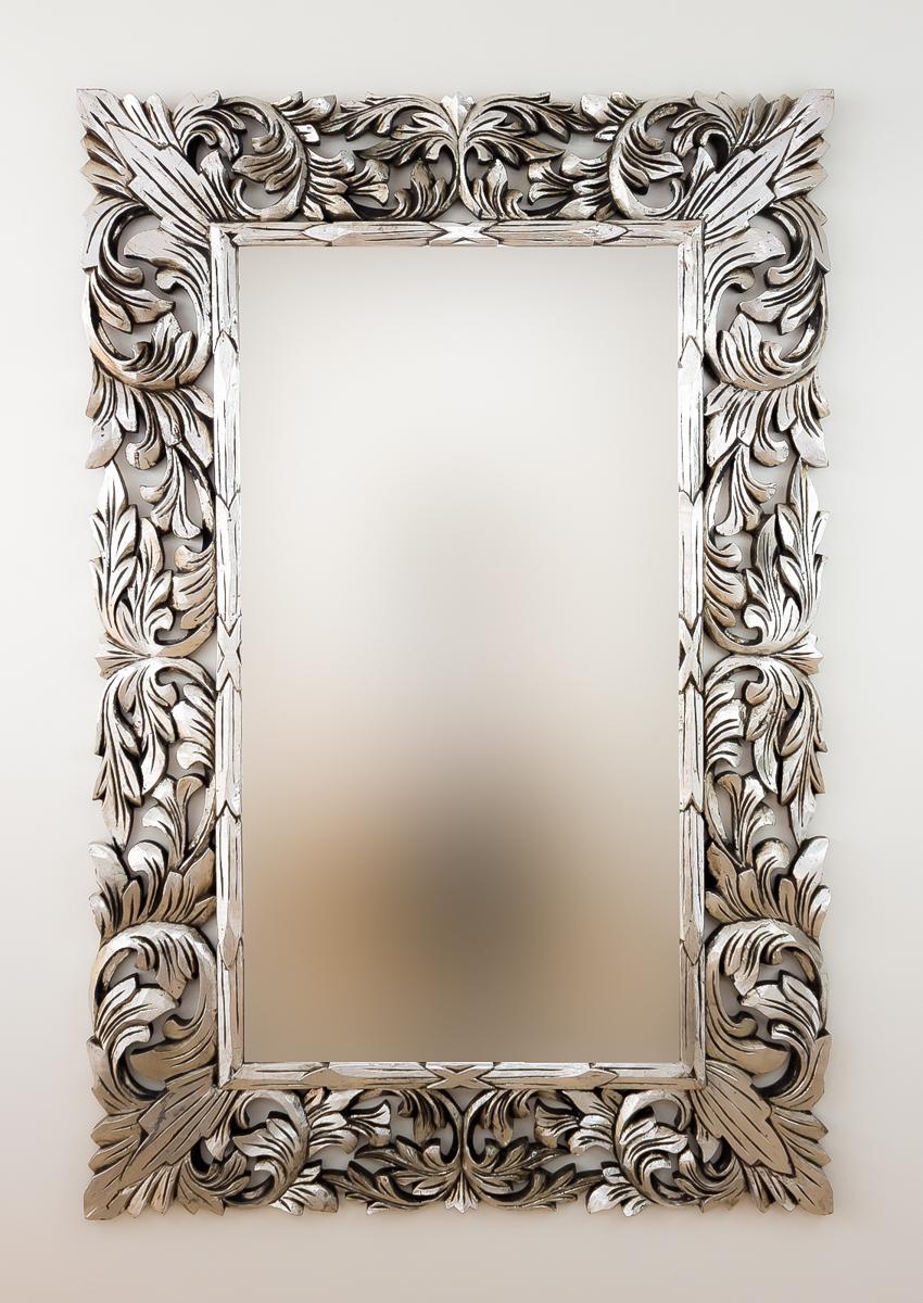 Espejo decorativo de pared en madera renaisance plata for Espejo madera envejecida