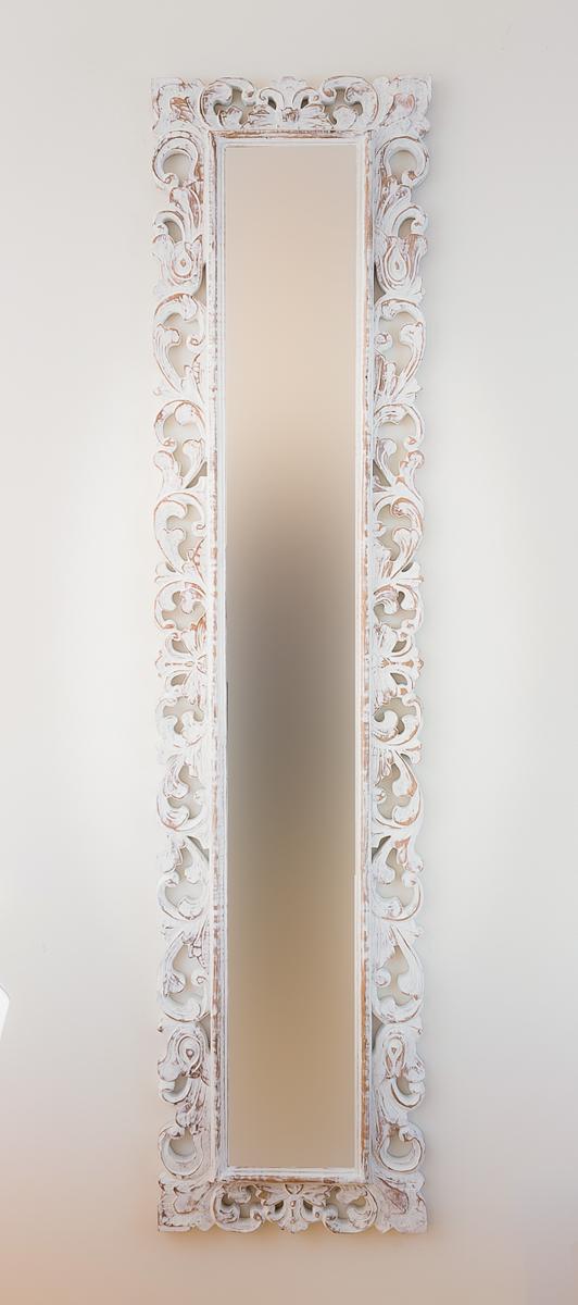 Espejo de pared en madera espa ol long blanco envejecido for Espejo blanco envejecido
