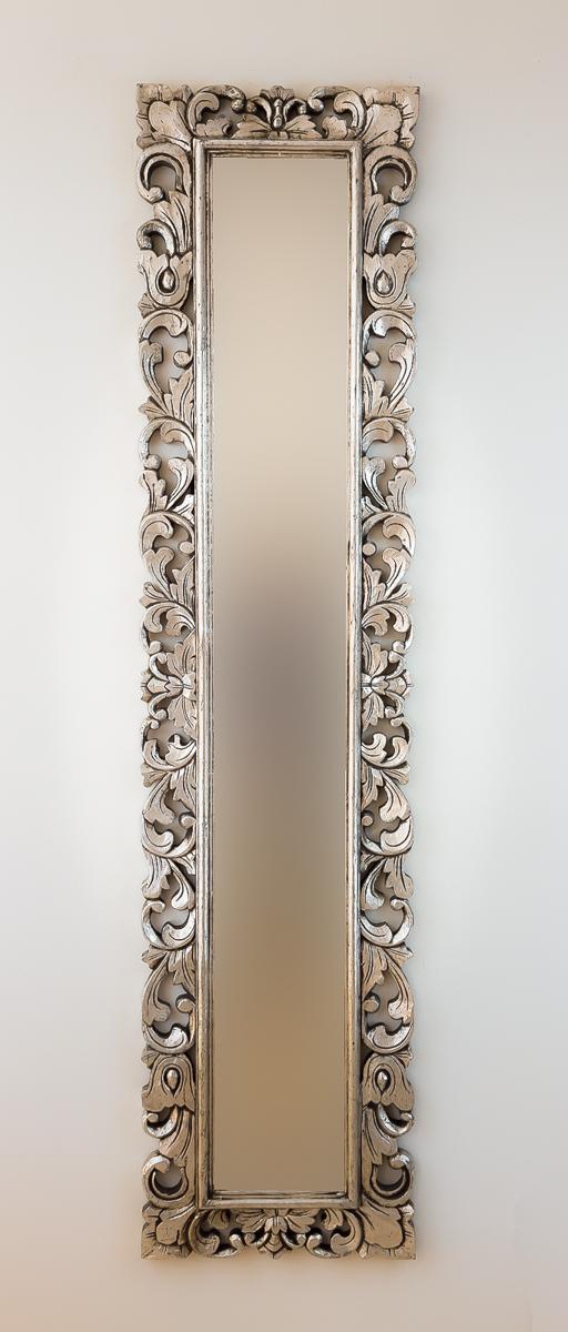 Espejo decorativo de pared en madera espa ol long plata for Espejo madera envejecida