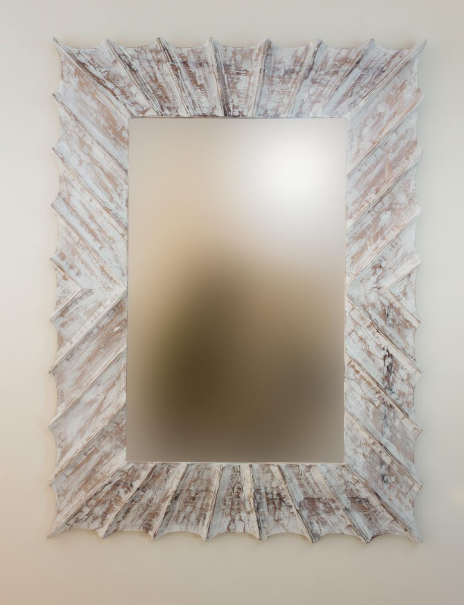 Espejo decorativo de pared sol surya burik blanco envejecido for Espejo blanco envejecido