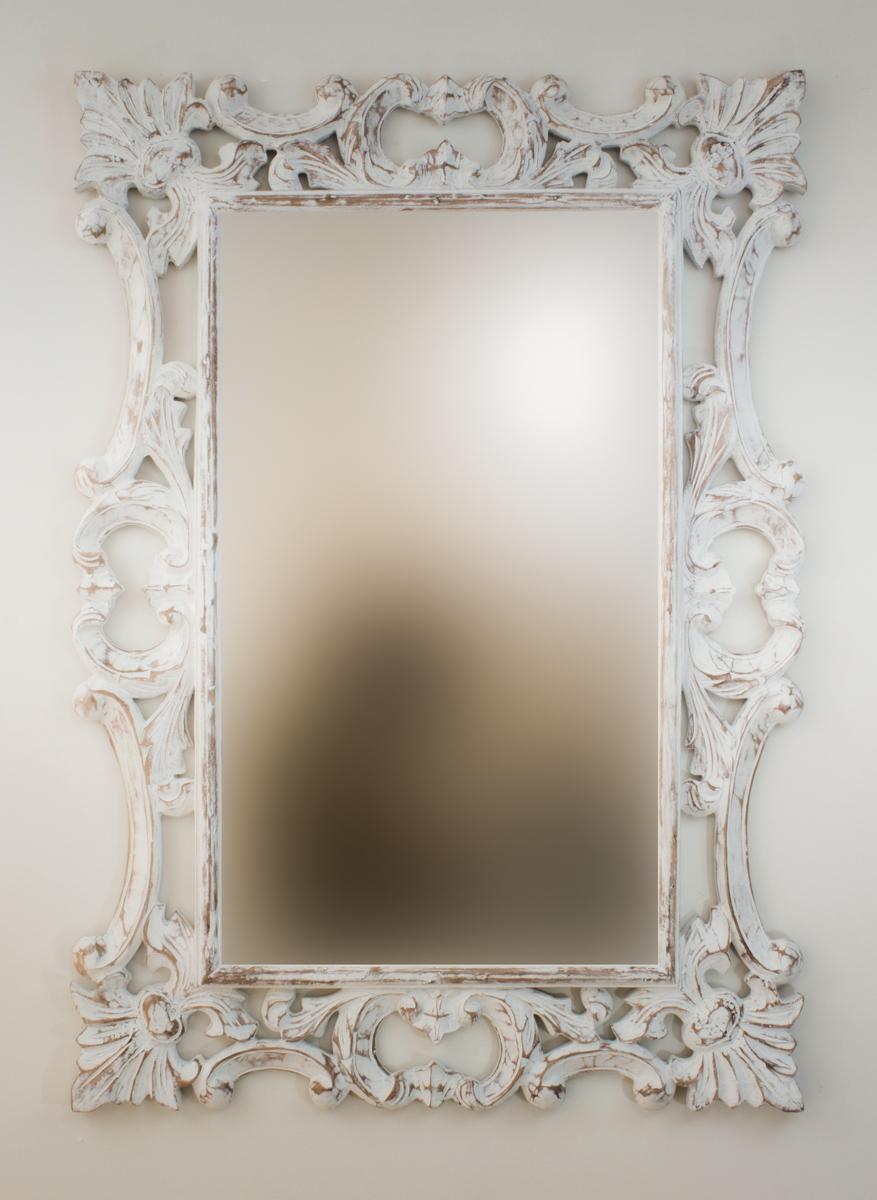Espejo decorativo de pared en madera eiffell blanco for Espejo blanco envejecido
