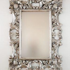 Espejo Eiffell Plata (envejecida) de 80cm. Madera artesana