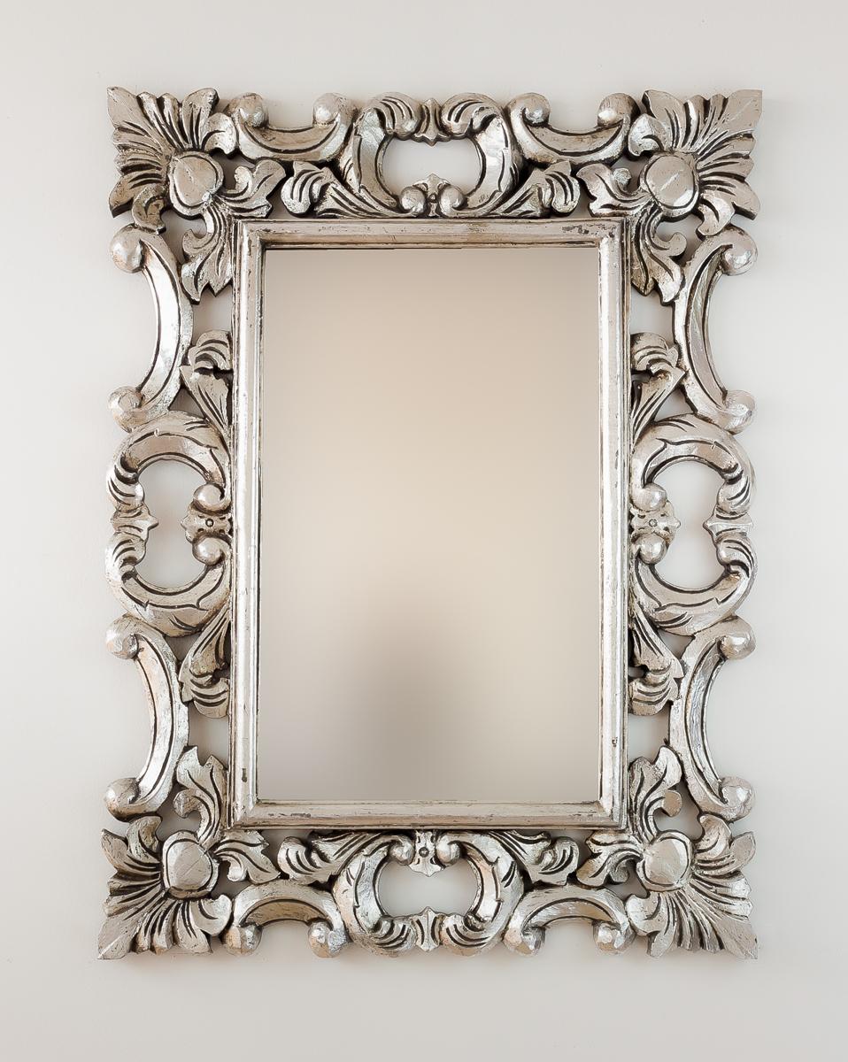 Espejo decorativo de pared en madera eiffell plata for Espejo madera envejecida
