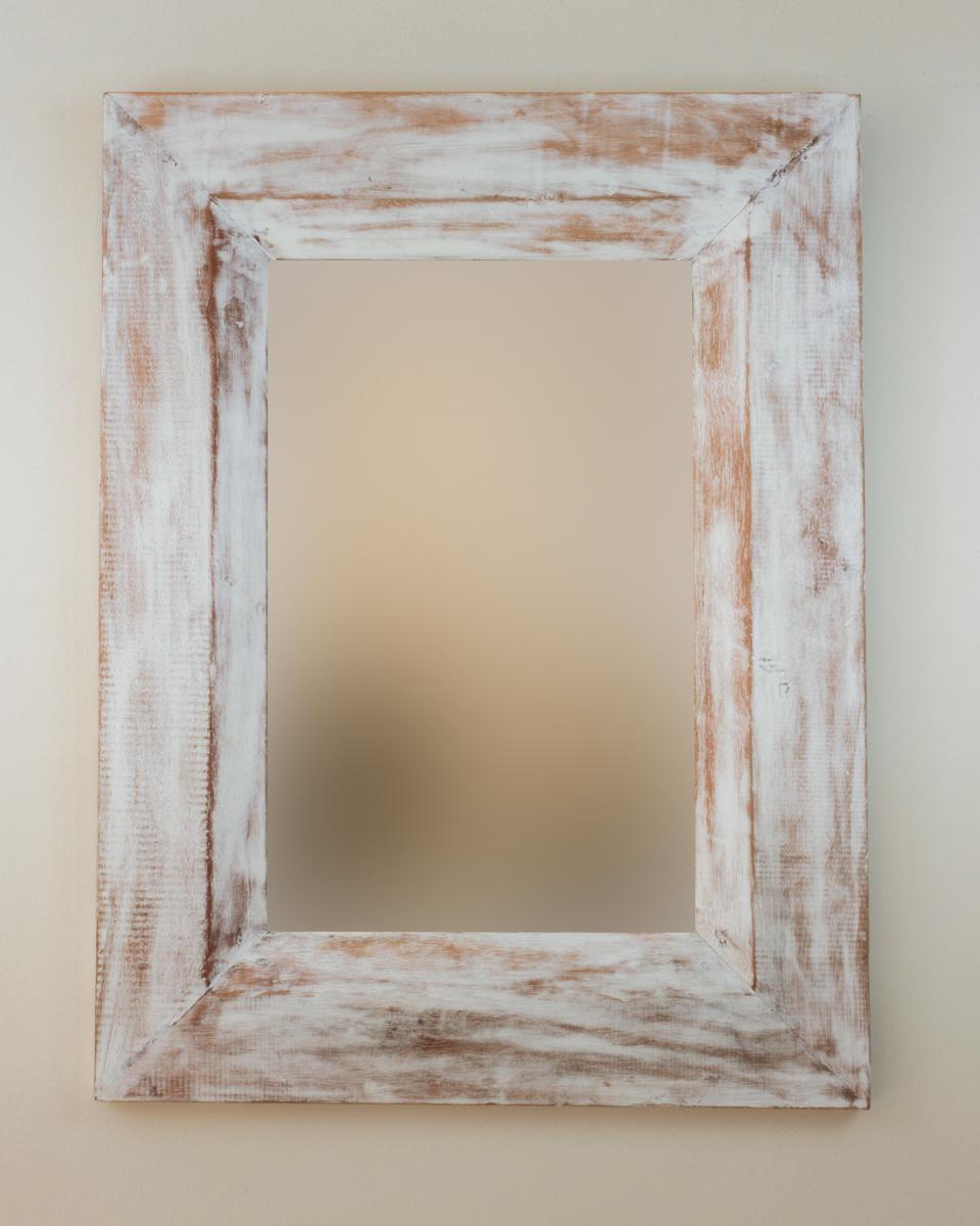 Espejo decorativo de pared en madera flat miring blanco for Espejos decorativos blancos