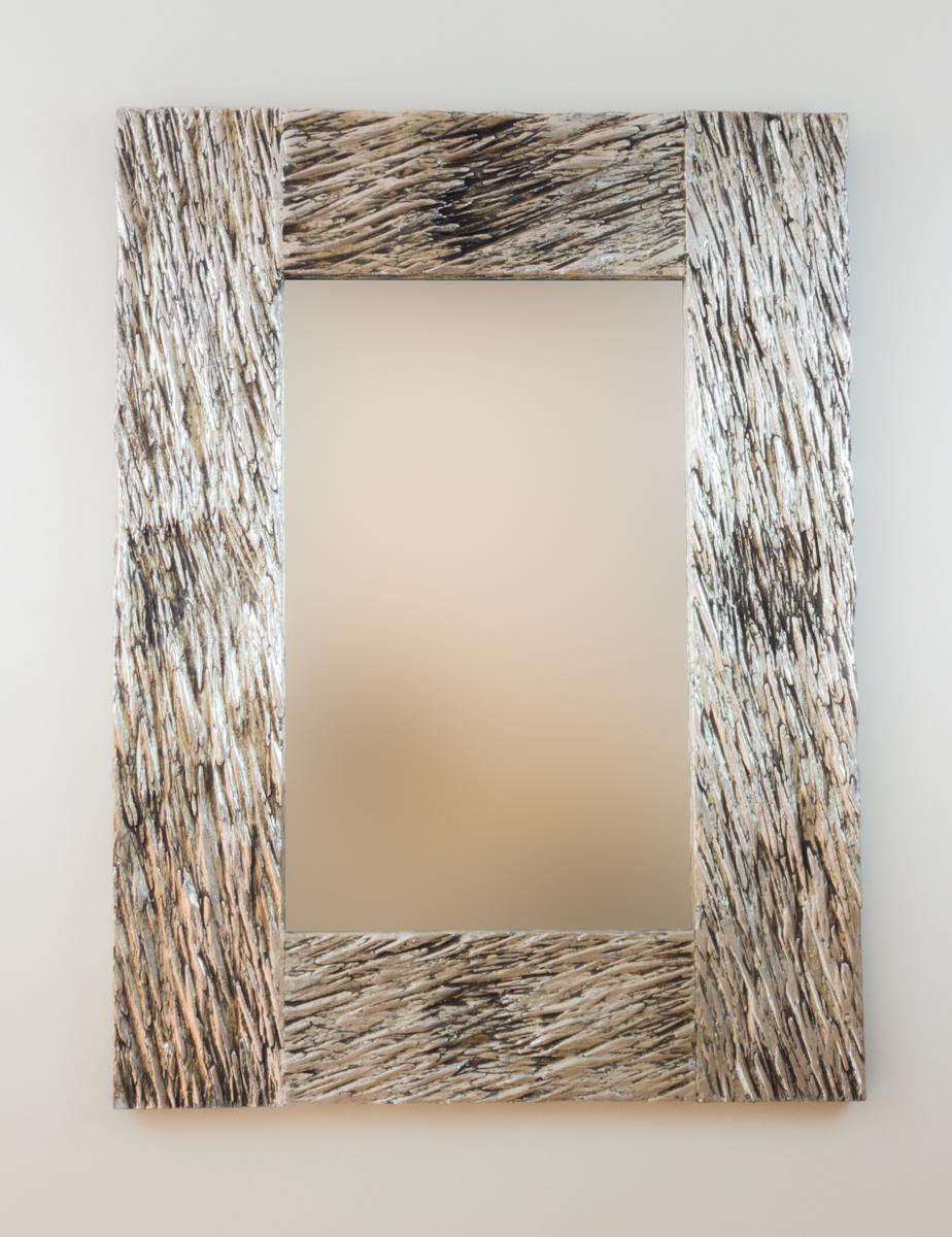 Espejo decorativo de pared en madera catak urip plata for Espejo madera envejecida