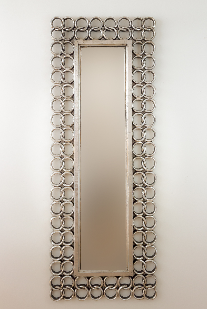 Espejo decorativo de pared en madera gold chaine plata for Espejo madera envejecida