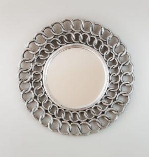 Espejo Gold Chaine Circle Plata (envejecida)