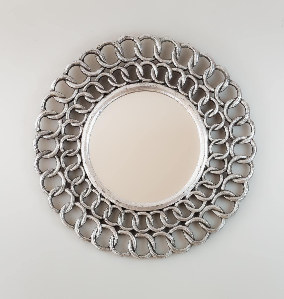 Espejo decorativo de pared en madera gold chaine circle plata for Espejo pared plata