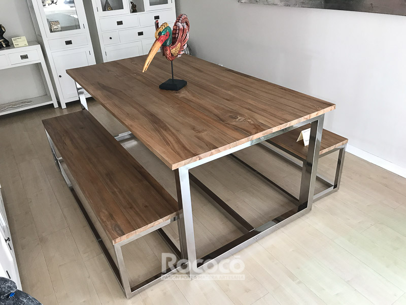 Mesa de teca y acero inox