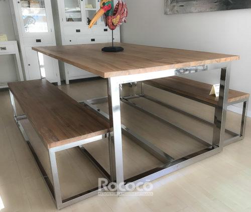 Mesa teca y acero