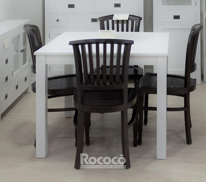 Mesa cuadrada blanca de comedor de 100cm inay rococ for Mesa cuadrada blanca