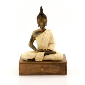 Figura Buda Thai con cajón crema