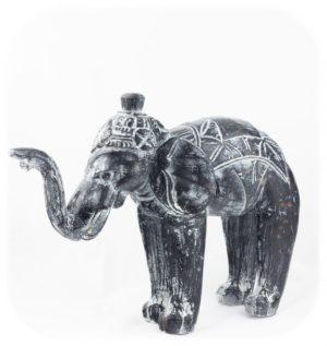 Figura Elefante tallado en madera Indo (negro)