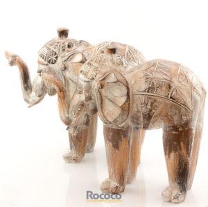 Figura Elefante tallado en madera Indo acabado natural