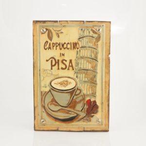 """Cuadro decorativo Vintage (metal y madera) 20X30 """"Pisa"""" según imagen"""