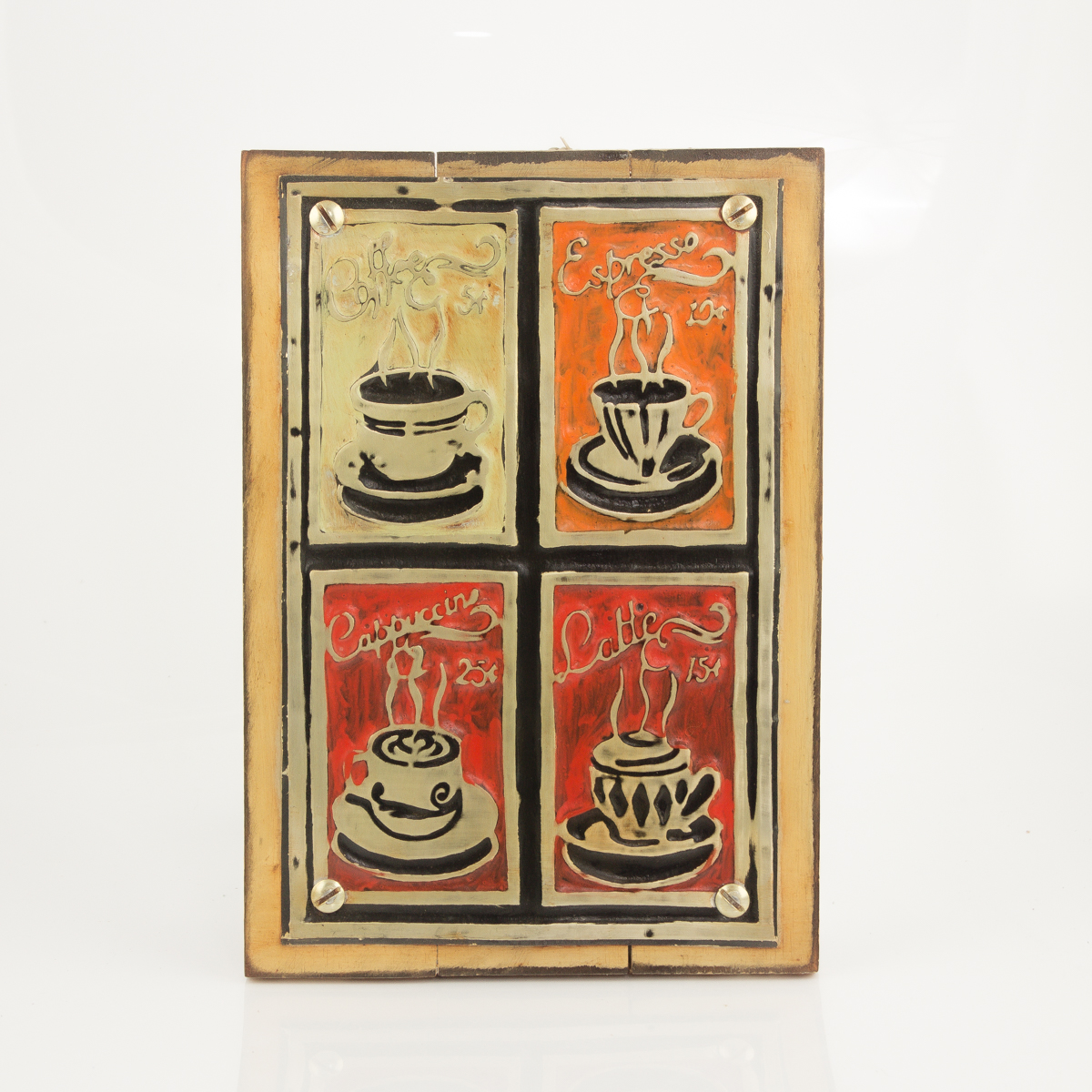 Cuadro decorativo vintage metal y madera 20x30 tazas - Cuadros vintage madera ...