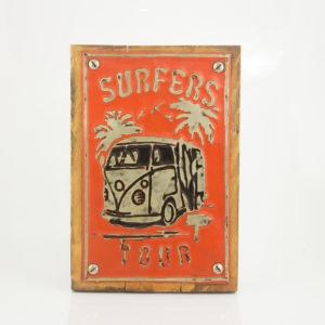 """Cuadro decorativo Vintage (metal y madera) 20X30 """"Surfers"""" según imagen"""