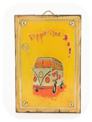 """Cuadro decorativo Vintage (metal y madera) 20X30 """"Hippie"""" según imagen"""
