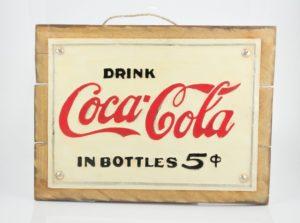 """Cuadro decorativo Vintage (Metal y madera) 40X30cm """"Coke"""" según imagen"""