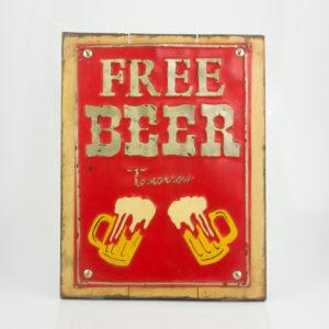 """Cuadro decorativo Vintage (Metal y madera) 40X30cm """"Free beer"""" según imagen"""