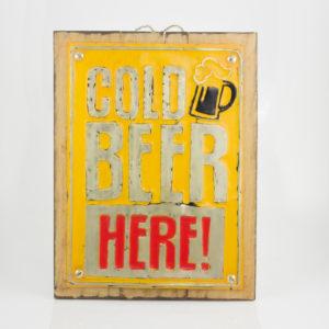 """Cuadro decorativo Vintage (Metal y madera) 40X30cm """"Beer"""" según imagen"""