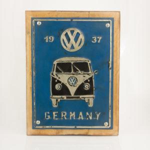 """Cuadro decorativo Vintage (Metal y madera) 40X30cm """"Germany"""" según imagen"""