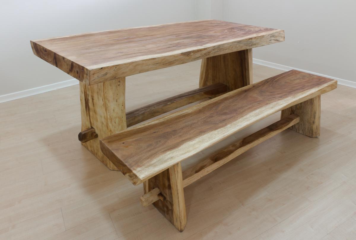 Mesa r stica de madera maciza de suar naturalmente rococ - Bancos de madera rusticos ...