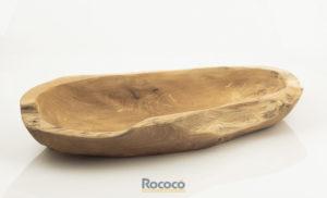Bol artesano de Raíz de Teca Largo 40 cm(aprox.) (centro de mesa, vacía bolsillos)