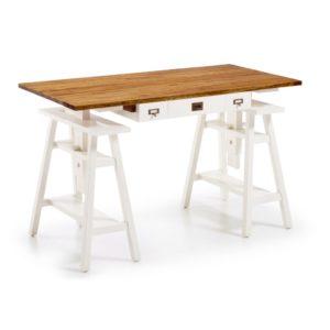 Escritorio de madera Architect de 152cm blanco/natural