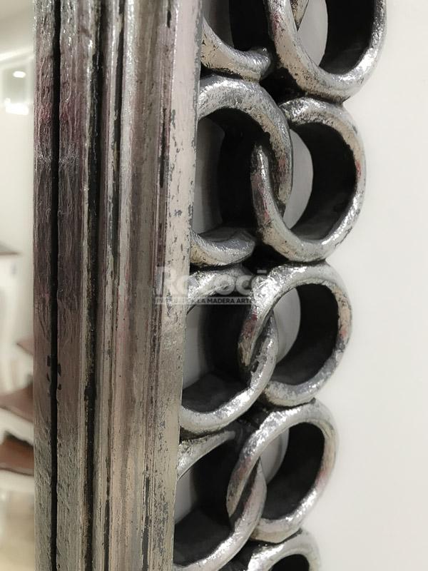 Espejo decorativo pared en madera gold chain plata for Espejo madera envejecida