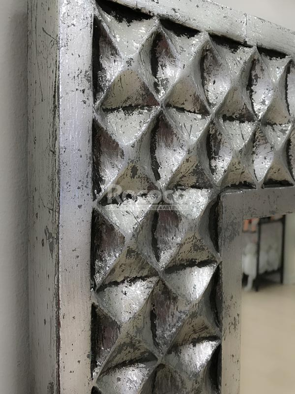 Espejo decorativo de pared en madera batik ceblong plata for Espejo pared plata