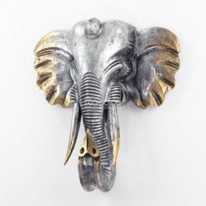 Figura elefante de pared tallada en madera de 50x45cm Wall plata y oro