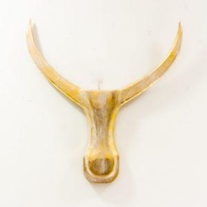 Figura Bufalo Lancip de pared en acabado pan de oro de 56cm