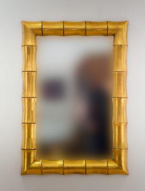 Espejo de pared decorativo Bamboo Oro (envejecido) de 100cm.