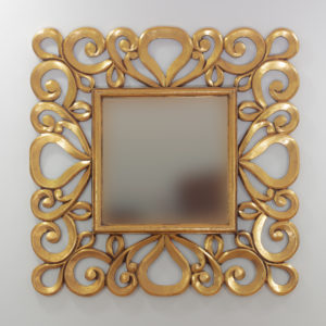 Espejo decorativo de madera Almora de 80x80 en Oro (envejecido)