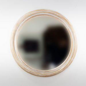 Espejo decorativo de madera Round Polos de 80x80 en blanco y pan de oro